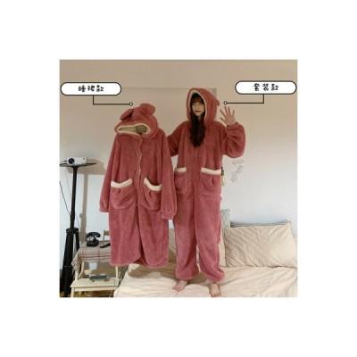 【送料無料】~ ガールフレンド服装 パジャマ 秋と冬 かわいい フード付きナイトガウ   346770_A64344-7233760
