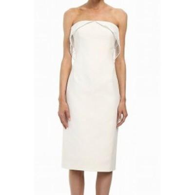 Zac Posen ザック ポーゼン ファッション ドレス Zac Posen NEW White Womens Size 0 Lace Trim Off Shoulder Sheath Dress