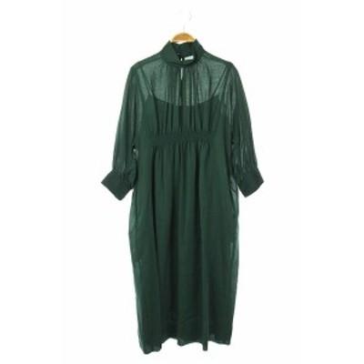 【中古】martinique 20AW ハイネック ギャザー ドレス ワンピース ロング 七分袖 インナー付き 緑 ■OS レディース