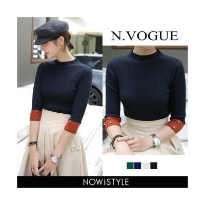 韓国 ファッション Tシャツ レディース おしゃれ 半袖 ポイントカラーリブニット