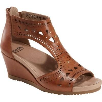 カルソーアースシューズ EARTH レディース サンダル・ミュール ウェッジソール シューズ・靴 Barbuda Wedge Sandal Sand Brown Leather