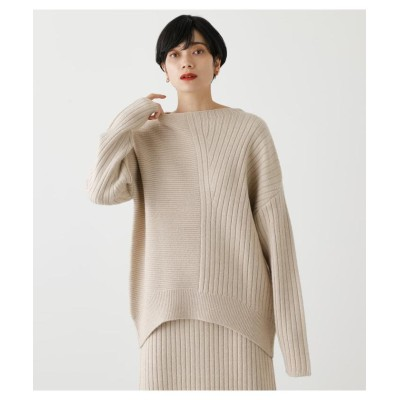 (AZUL by moussy/アズールバイマウジー)RIB KNITTED ASYMMETRY TOPS/レディース L/BEG1