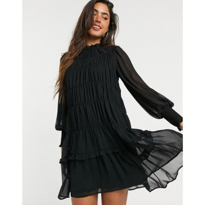 ヴェロモーダ レディース ワンピース トップス Vero Moda chiffon mini dress with high neck and tier detail in black Black