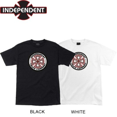INDEPENDENT REDWHITE CROSS SS TEE BLACK WHITE インディペンデント クロス 半袖 Tシャツ ブラック ホワイト 19m