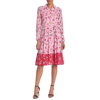 ナネットレポー レディース ワンピース トップス Long Sleeve Border Print Dress FLORALPARA
