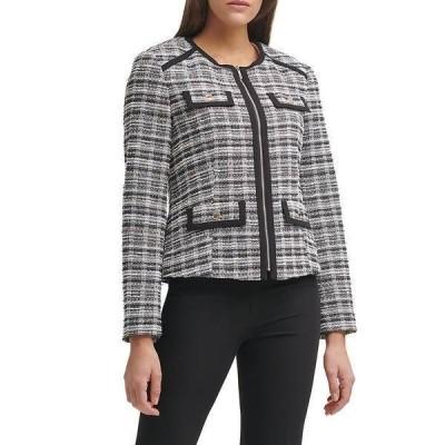 トミー ヒルフィガー レディース ジャケット&ブルゾン アウター Knit Tweed Front Zip Jewel Neck Blazer Black Multi