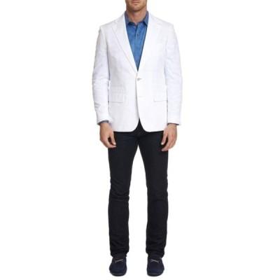 ロバートグラハム メンズ ジャケット&ブルゾン アウター Moris White Solid Notch Lapel Two Button Tailored Fit Cotton Sport Coat WHITE