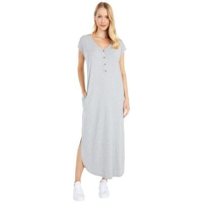 モッドドック レディース ワンピース トップス Cotton Modal Spandex Short Sleeve Henley Maxi Dress