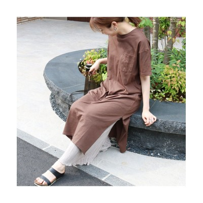 【シルキー】 コットンサイドスリットワンピース レディース ブラウン FREE Silky