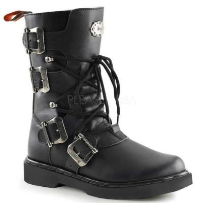 ブーツ シューズ 靴 デモニア Demonia ユニセックス バックル ストラップ Shaft Lace Up Calf ハイ Combat ブーツ DEFIANT-306 BLACK Vegan Leather