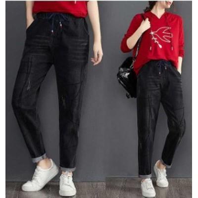 秋新作 予約商品 大きいサイズ レディース ボトムス パンツ デニム ジーンズ ジーパン ダメージ 韓国ファッション 3XL 2XL 大人カジュア