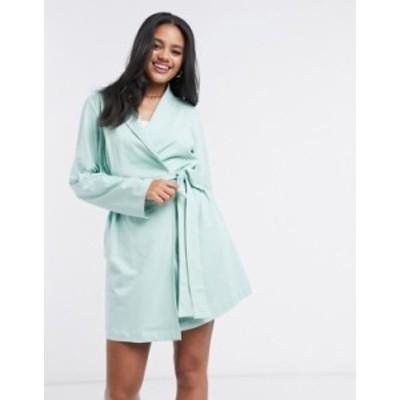 エイソス レディース コート アウター ASOS DESIGN jersey mini robe in mint Mint