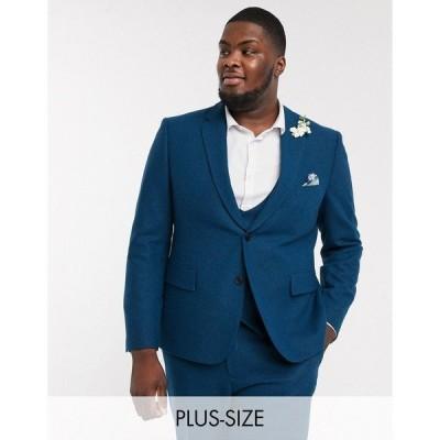 ハリー・ブラウン メンズ ジャケット&ブルゾン アウター Harry Brown Plus slim fit wedding summer tweed suit jacket Blue