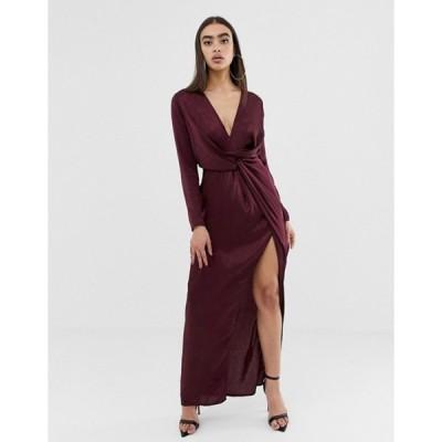 ミスガイデッド レディース ワンピース トップス Missguided satin maxi dress with twist front and split in burgundy