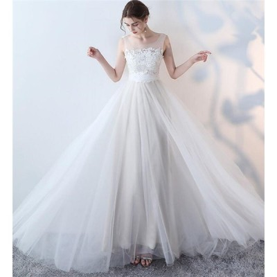 送料無料 ドレス 二次会 ウェディングドレス 白 大きいサイズ ワンピース パーティードレス 結婚式 ロングドレス ボートネック 花嫁ドレス 発表会 レース ワンピ