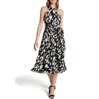 タハリエーエスエル  レディース ワンピース トップス Twisted Halter Burnout Jacquard Abstract Leopard Print Midi Dress Black Ivory