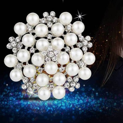模造真珠の花ブライダルウェディングブローチピンレディガールズジュエリー