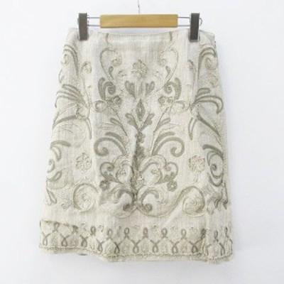 【中古】デュアルヴュー DUAL VIEW 膝丈 台形スカート 40 ベージュ系 刺繍 ステッチ 裏地 麻 リネン レディース