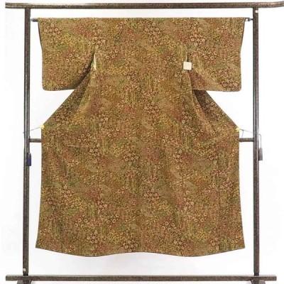 リサイクル着物 小紋 正絹薄茶地更紗模様袷小紋着物