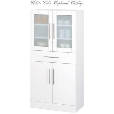 送料無料 食器棚 ワイド 60×120 ホワイト お手入れ簡単 全面ポリ板仕様 ミストガラス カトレア