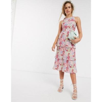 ウェアハウス Warehouse レディース ワンピース ティアードドレス ワンピース・ドレス Floral Print Micropleated Tiered Midi Dress In Pink マルチカラー