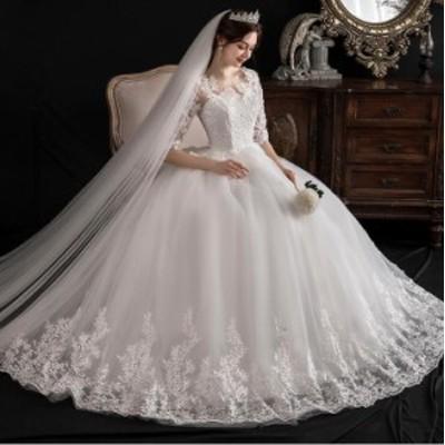高品質 韓国ファッション ウエディングドレス 結婚式 二次会 ステージドレス ロング パーティードレス 袖あり 着痩せ ホワイト白 撮影