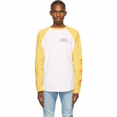パーム エンジェルス Palm Angels メンズ 長袖Tシャツ トップス White and Yellow Smiley Edition Burning Head Long Sleeve T-Shirt Whi