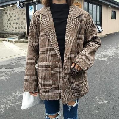 グレンチェック ジャケット テーラードジャケットオーバーサイズコートアウターレディース秋冬