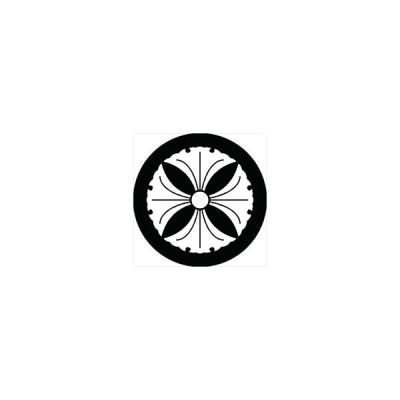 家紋シール 四つ銀杏紋 直径4cm 丸型 白紋 4枚セット KS44M-1650W