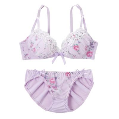フェミニンフラワープリント ブラジャー。ショーツセット(D80/L) (ブラジャー&ショーツセット)Bras & Panties