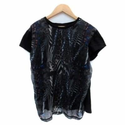【中古】ディーゼル DIESEL Tシャツ カットソー ラウンドネック 半袖 総柄 切替 マルチカラー 黒 ブラック レディース