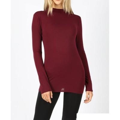 レディース 衣類 トップス Women's Mock Neck Long Sleeve Layering T-Shirt Slim and Stretchy Tシャツ