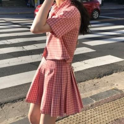 レディースファッション プレッピーチェック柄ツーピース衣装ショートセット女性のための韓国のファッション衣類2020夏のスウェットスー