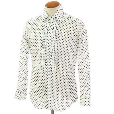 バグッタ Bagutta ドット柄 プリント コットン ラウンドカラー ボザム付 カジュアルシャツ ホワイト×ブラック 39