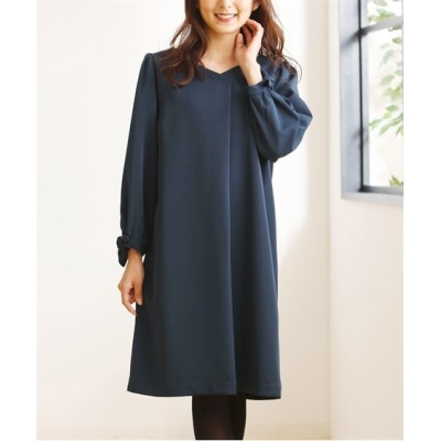 小さいサイズ 袖リボンサックワンピース 【小さいサイズ・小柄・プチ】ワンピース, Dress