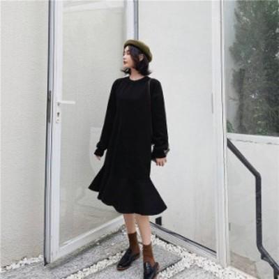 ワンピース 黒L 即納 ピンク L-3XL 裾フリル 切替 体型カバー 着痩せ 大きいサイズ カジュアル 2329806 送料無料 冬服 森ガール シンプル