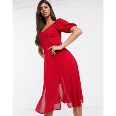 ティーエフエヌシー ミディドレス レディース TFNC waist detail midi dress エイソス ASOS レッド 赤