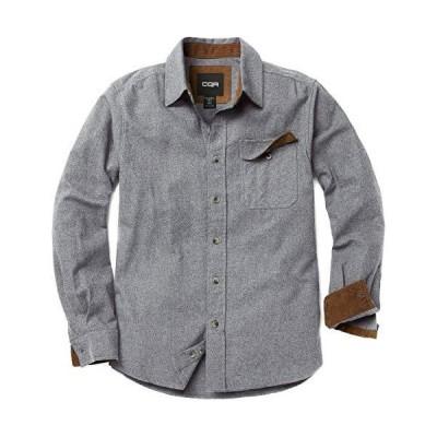 CQR ネルシャツ メンズ カジュアル 長袖 シャツ 男女兼用 アウトドア 登山 ゴルフウェア アメカジ メンズ HOF113-LGY_L