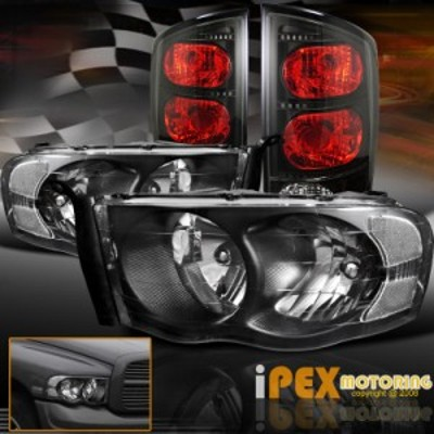 テールライト 2002-2005 Dodge RAM 1500 2500 3500ブラックヘッドライトW スモークブラックテール
