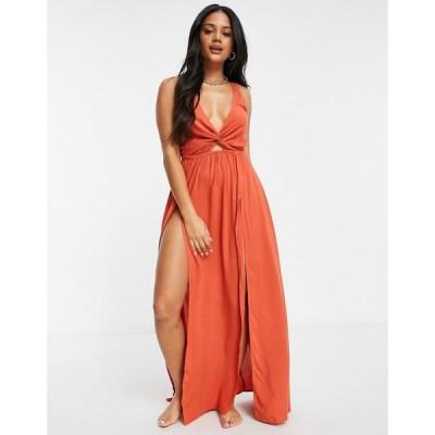 エイソス ASOS DESIGN レディース ビーチウェア ワンピース・ドレス Tie Back Beach Maxi Dress With Twist Front Detail In Rust ラスティック