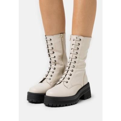 トップショップ レディース ブーツ AMY CHUNKY MID LACE UP - Lace-up boots - offwhite