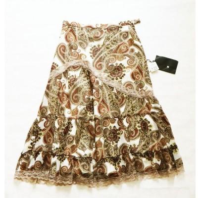 フレアスカート  ひざ下 9号 ウエスト62〜66 ペイズリー 茶  エトワール海渡   レディースファッション