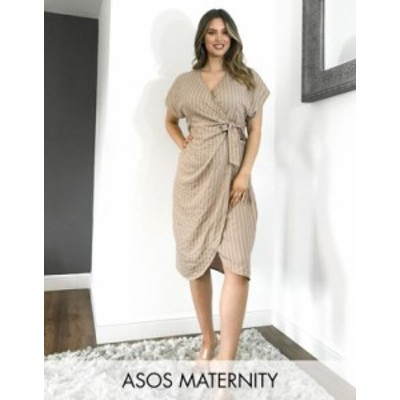 エイソス レディース ワンピース トップス ASOS DESIGN Maternity linen wrap midi dress in stripe Brown stripe