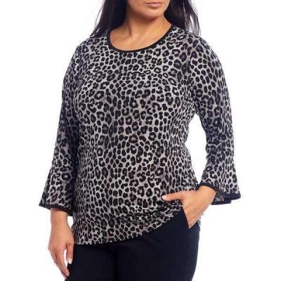 マイケルコース レディース Tシャツ トップス MICHAEL Michael Kors Plus Size Cheetah Print Lux Matte Jersey 3/4 Flare Sleeve Top Gunmetal