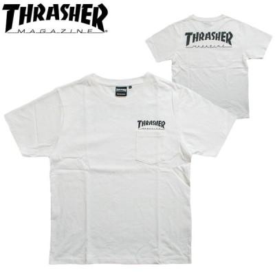 スラッシャー Tシャツ THRASHER ポケティー TH8102EPT 定番 胸ポケット マグロゴ MAG LOGO WHT