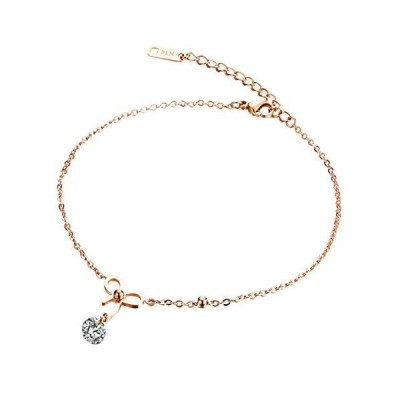 Holibanna Bowknot Anklet Zircon Gold Plated Personalized Anklets Summer Bea