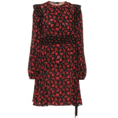 ヌメロ ヴェントゥーノ N21 レディース ワンピース ワンピース・ドレス Printed silk minidress stampa fondo nero