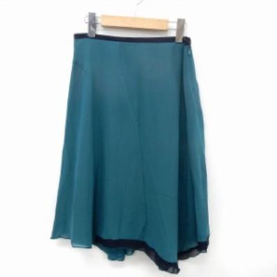 【中古】アナトリエ ANATELIER スカート フレア 膝丈 サイドジップ シンプル 38 グリーン /ST15 レディース