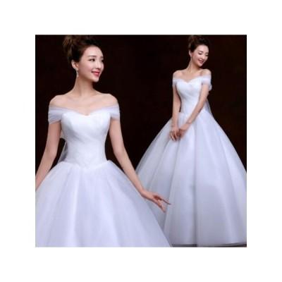超美ラインロングウエディングドレス花嫁ボリュウムフリルドレス結婚式二次会パーティーカラードレスベールパニエブローグ付演出ドレス