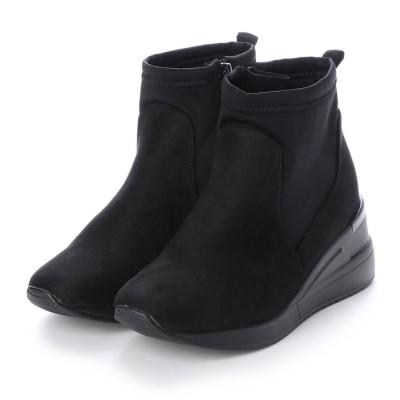 マシュガール masyugirl 【幅広ゆったり・大きいサイズの靴】 ストレッチ素材のスニーカーブーツ (ブラックスエード) SOROTTO